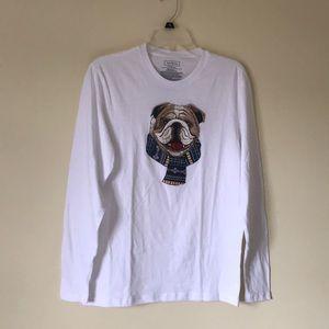 Christmas Bulldog long sleeve T-shirt S white NWT